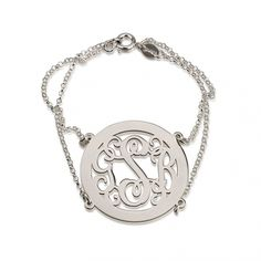 The chain of command begins right on your wrist with this gorgeous double rolo chain curly monogrammed sterling sliver bracelet with border.