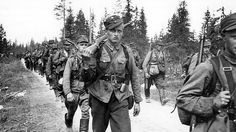 """Finnish infantry advances to the front in June Finland was a """"friendly co-combatant"""" of Germany's because the Soviet threat remained. The Finns proved themselves tenacious winter fighters. History Of Finland, Night Shadow, Army Infantry, Man Of War, Fight For Us, History Of Photography, Military History, Troops, Soldiers"""