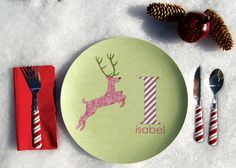 Personalized Girl Holiday Plate Deer by Dylbug on Etsy, $20.00