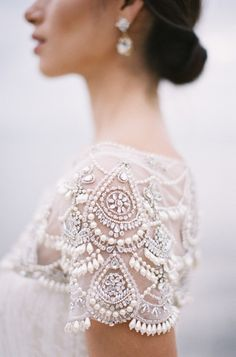 short sleeve beaded gown