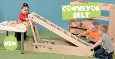 This sturdy, height adjustable conveyor belt is great for transporting bricks, or even for role play at the checkout!