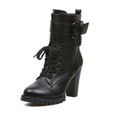 Stylish Women's Short Boots with Buckle Black
