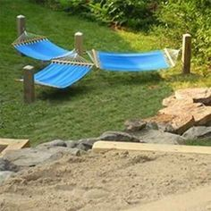 Four Posts and Three Hammocks For A Relaxing Hang Out Area -I'd make this within site of a fire pit but not too close. The teenagers would love. This site has 50 more DIY Backyard and Gardening Hacks andIdea