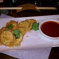 Tempura Nasu (Japanese eggplant crisps, mitsuba and sweet chili sauce) from Uchiko in Austin, TX