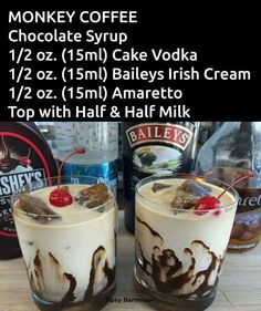 How To Make Best Copycat Baileys Irish Cream Recipe Monkey Coffee specialty drink Christmas Drinks, Holiday Drinks, Summer Drinks, Winter Drinks, Liquor Drinks, Cocktail Drinks, Alcoholic Coffee Drinks, Amaretto Drinks, Baileys Drinks