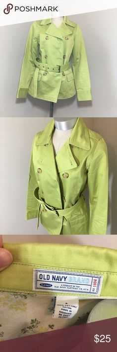 Trench Coat Classic shape in fun lime color. Jacket is is in great used condition. Some of the buttons have some frayed string, but all still secured on. There is one small stain on the inside right bottom hem, but surely not noticeable when on. Measurements only by request. Old Navy Jackets & Coats Trench Coats