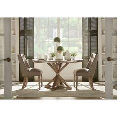 Abbott Rustic Round Stainless Steel Strap Oak Trestle Dining Set by iNSPIRE Q Artisan