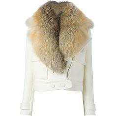 Altuzarra Fox Fur Detachable Collar Jacket ($3,995) ❤ liked on Polyvore featuring outerwear, jackets, fur, coats, white, fur jacket, white jacket, white fur jacket and altuzarra