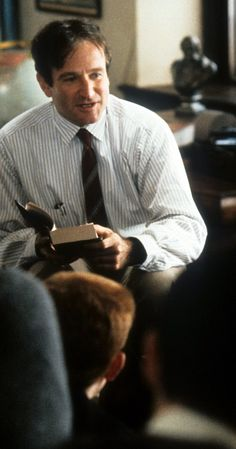 "John Keating (Robin Williams): ""Boys, you must strive to find your own voice. Because the longer you wait to begin, the less likely you are to find it at all. Thoreau said, 'Most men lead lives of quiet desperation'. Don't be resigned to that. Break out!"" -- from Dead Poets Society (1989) directed by Peter Weir"
