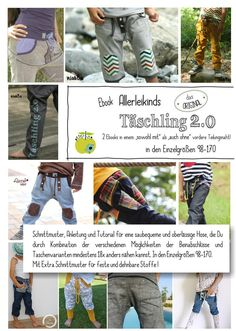 """**Allerleikinds """"Täschling 2.0""""**  Das Ebook enthält das Schnittmuster und die Anleitung für eine saubequeme Hose, die Du durch die Kombination der verschiedenen Möglichkeiten der Beinabschlüsse..."""