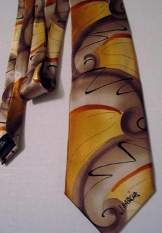 "Signed J. Garcia Abstract Mod Silk Tie ""Emerging Elephant"" Artist Proof No. 1 #JGarcia #NeckTie #Business"