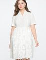 Eyelet Fit and Flare Dress TRUE WHITE
