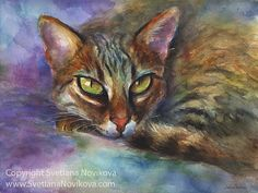 Colorful Bengal cat watercolor painting with intense eyes by Svetlana Novikova