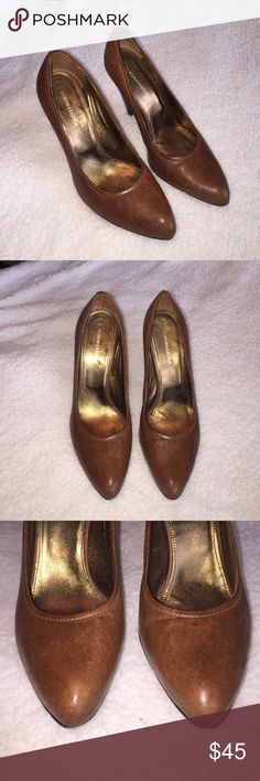 BCBG MaxAzria Brown Distressed Leather Pumps Gorgeous classic pumps. Perfect for all occasions! Signs of wear on the bottom of shoe only... meant to have a distressed creased look. BCBGMaxAzria Shoes Heels