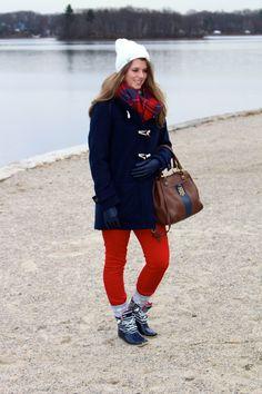 Navy and brown color blocked Tommy Hilfiger purse, fair isle socks on The Sol Compass