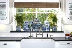 WSH loves a ginger jar collection in the kitchen. Via Classic Casual Home. ginger jars, kitchen windows, design kitchen, sink, homes, eleg beach, blues, kitchen designs, white kitchens