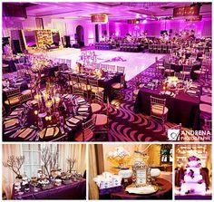 It's raining purple. :) Majestic Purple & Gold #Indian wedding decor