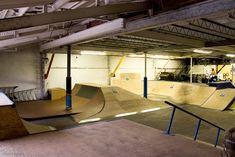 cool interior skatepark - Google Search Skate Park, Layout, Indoor, Exterior, Skateboarding, Reference Images, Google Search, Bowls, Parks