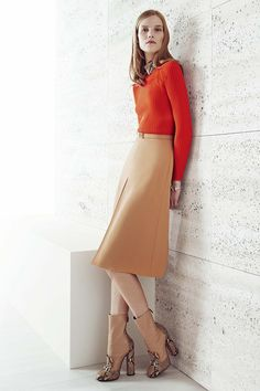 Gucci resort 2015 - bright orange with classy beige skirt and boots. Perfection