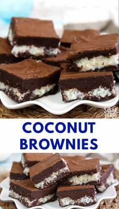 These coconut brownies are the BEST! They're rich, fudgy brownies with a gooey coconut filling similar to a candy bar. Coconut lovers, this one's for you! | From SugarHero.com #sugarhero #coconut #brownie #LemonCakeWithBlueberriesRecipe Coconut Brownies, Fudgy Brownies, Chocolate Brownies, Frosting For Brownies, Buckeye Brownies, Beste Brownies, Coconut Bars, Köstliche Desserts, Delicious Desserts