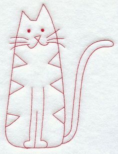 Country Kitty (Red work) 2514