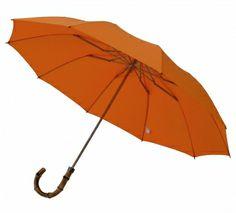 London Undercover Whangee Cane Crook Folded Orange Umbrella
