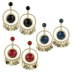 Women's Fashion Round Gemstone Tassel Dangle Earrings, HY107