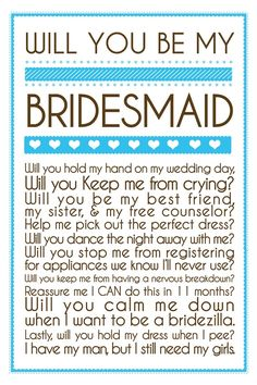 This is adorable. I've come to realize that the people you thought would stick by you and support you don't. So picking bridesmaids before wedding planning won't work. Cute Wedding Ideas, Perfect Wedding, Wedding Inspiration, Wedding Events, Our Wedding, Dream Wedding, Weddings, Wedding Stuff, Wedding Pins