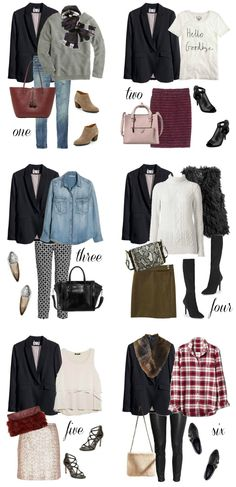 Wardrobe Workhorse| Penny Pincher Fashion - I have a black blazer already, and I like Looks #2 and #4. Just not the furry vest, and I prefer boots with a bit shorter heel.