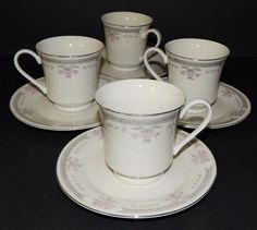 "4 Dynasty Fine China - Newcor COLLEEN - 1008-20  Coffee Cups and 6"" Saucers #NewcorDynastyFineChina"