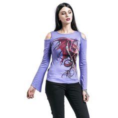 "Maglia donna a maniche lunghe viola ""Wyvern"" del brand #Spiral."