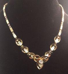 Vintage Rhinestone Flower Necklace Goldtone Bar Chain Adjustable Cutout #Chain