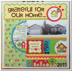 Beautiful Home Scrapbook Layout by Wendy sue Anderson with doodlebug Home Sweet Home collection