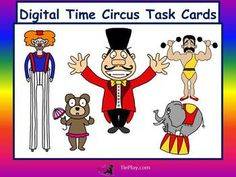 In Digital Time Circus Task Cards, First or Second Grade learners answer questions pertaining to digital time involving circus characters.  These fun and lively printable task cards of 12 pages can be used as a center, class game or cooperative group activity.