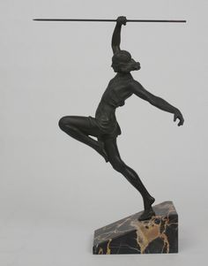 An art deco French metal sculpture Pierre Le Faguays, France circa 1930.