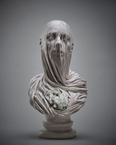 Veiled Souls Carved from Stone and Embedded with Crystals by Livio Scarpella sculpture marble