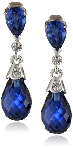 10k White Gold Created Gemstone and Diamond Earrings