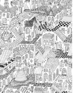 Las Casitas. Little Houses. Illustration. Black and WHite. Art. By Noel Lemos.