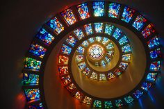 Spiral stained glass in the Thanksgiving Square Chapel. Photo by Stephen Bay. Fibonacci Sequence In Nature, Fibonacci Spiral, Fibonacci Number, Stained Glass Art, Stained Glass Windows, Thanksgiving Square, Maths In Nature, Spiral Shape, Spiral Pattern