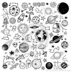 Set of planets icon, hand drawn vector illustration