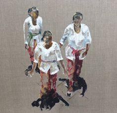 Original People Painting by Francoise Cosmao Bali Lombok, Original Paintings, Original Art, Knife Painting, Woman Painting, Figurative Art, Art Oil, Buy Art, Saatchi Art