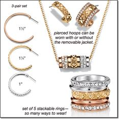 "TRIPLE THREAT COLLECTION A mix of rhinestone-embellished goldtone, rose goldtone and silvertone complements everything!  Necklace and Earring Set 1"" W and a 1/2"" diam. bead on a 16 1/2"" L goldtone chain with a 3 1/2"" extender. Brochure: intro special $12.99 the set Will be $19.99  3-Pair Hoop Set Pierced hoops. Brochure: intro special $12.99 the set Will be $19.99  5-Piece Ring Set* 7/12"" stack when worn together. Sizes: 6, 8, 10 #avon #jewelry www.youravon.com/dsheckler"