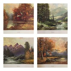 Vintage Lithograph Reproductions of Robert Wood Landscapes Set | Etsy Mountain Cabin Decor, Mountain Cottage, Landscape Prints, Landscape Paintings, Landscapes, Robert Wood, Wooded Landscaping, Illumination Art, American Interior