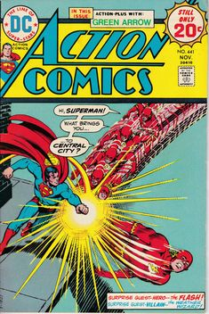 Action Comics Superman chins the Flash. Cover by Nick Cardy. Superman Action Comics, Star Comics, Superman Comic, Dc Comics, Batman, Superman Stuff, Superman Family, Archie Comics, Spiderman