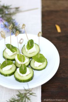 Delightful Mom: Spa Cucumber Feta Mint Bites