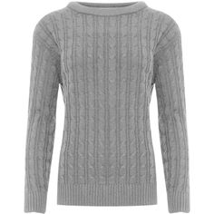 Elisa Cable Knit Crew Neck Jumper (20.785 CLP) ❤ liked on Polyvore featuring tops, sweaters, light grey, cable-knit sweater, crew neck sweaters, chunky cable knit sweater, long sleeve sweater and crew neck jumper
