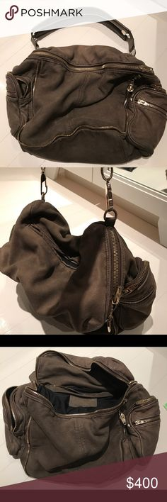 Alexander Wang Gray Jane shoulder bag with zippers great slouchy bag fits everything hardly worn! Alexander Wang Bags Shoulder Bags