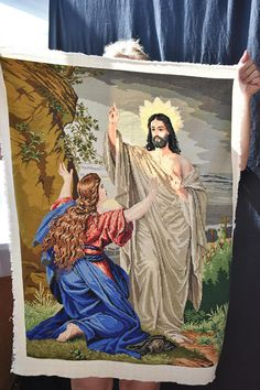 Items similar to Resurrection of Jesus Christ Cross stitch hand embroidery Needle point Finished embroidery piece Large hand embroidery tapestry Wall art on Etsy Cross Stitch Designs, Cross Stitch Patterns, Oh Glorious Day, Photo Tapestry, Christian Friends, Jesus Face, Jesus Resurrection, Mary Magdalene, Jesus Pictures