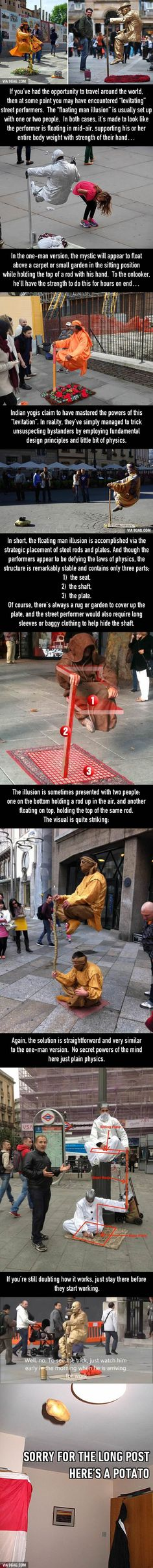 How do levitating street performers work? The More You Know, Good To Know, Weird Facts, Fun Facts, Random Facts, Random Things, Random Stuff, Looks Cool, Things To Know
