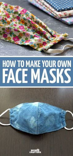 How to make your own face masks with fabric - 5 tutorials for DIY face masks including non-medical masks and free printable templates. Includes Cricut, sewing, and non-sew tutorials. Best Diy Face Mask, Easy Face Masks, Buy Fabric Online, Simple Face, Mask Template, Diy Fashion Accessories, How To Make Diy, Templates Printable Free, Diy Mask